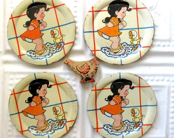 Vintage Ohio Art Toy Tin Dishes, Four Plates with Duck and Girl, Collectibles