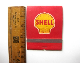 Vintage Large Book of Shell Company Matches, with Shell Logo on Matches, Partially Used