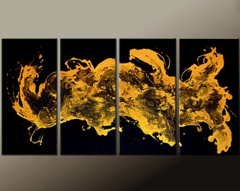 4pc Abstract Art Painting on Canvas 72x36 Original Metallic Gold Paintings by Destiny Womack - dWo - Euphoria - ON SALE