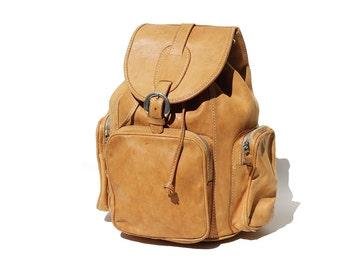 Tan Leather Backpack / Laptop Bag