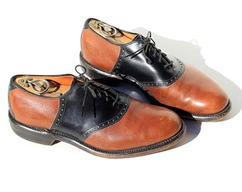 Vintage Men's Leather Oxford Shoes / Black and Brown Leather Shoes / size 10