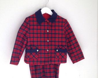 Vintage girls suit wool plaid size 4t