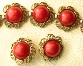 REDUCED  Vintage Bracelet, Vintage Earrings, Vintage Jewelry Set, Demi Parure, Red and Gold Tone Jewelry, Baubles