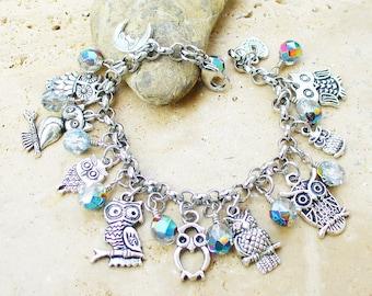 Beautiful  Whimsical Owl Charm Bracelet - Owl Lovers