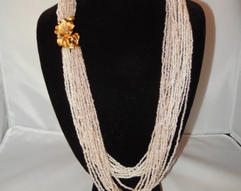 Vintage Seed Bead Necklace with Goldtone Floral Clasp