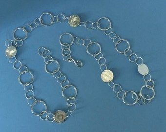 Hammered Silver Discs and Links, Hand Forged, 28 Inch Statement Neckpiece