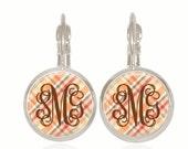 Monogram Earrings, Plaid Earrings, Thanksgiving Earrings, Fall Earrings, Personalized Gift, (Thanksgiving - Drop Style Earrings)