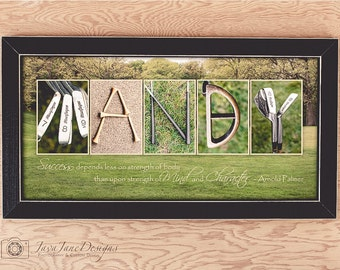 GOLF Personalized Name Print, Golf Letter Photos, Retirement or Birthday Gift for Guy, Motivational Quote, Gift for Dad, Golf Theme Artwork