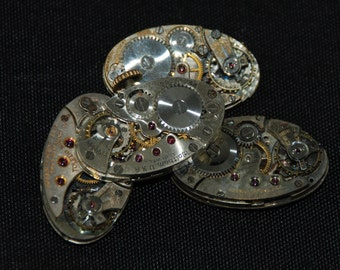 Gorgeous Vintage Antique Oval Watch Movements Steampunk Altered Art Assemblage CD 22