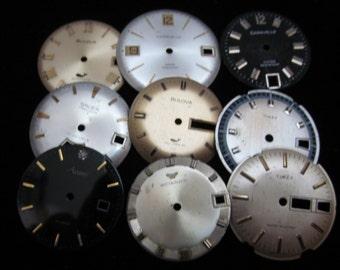 Vintage Antique Watch Dials Steampunk  Faces Parts H 15