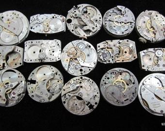 Destash Steampunk Watch Parts Movements Cogs Gears  Assemblage FW 54