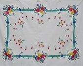Vintage Fruit Tablecloth Apples Blueberries Pears Cherries