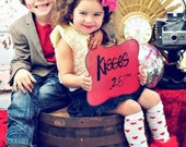 "Valentines Day Ruffle tutu Leg Warmers Red Hearts - Perfect for Valentines photos - Fits girls size 6m and up Approx 12"" Lng"