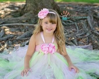 Girls Pink Flower Tutu - Perfect for flower girls wedding tutu, Birthday Tutu, Photo Prop, Fits size 4-6