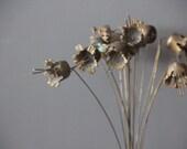 Modernist Sculptural Brutalist Metal Flowers Sculpture