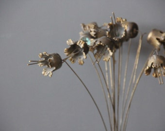 Modernist Sculptural Brutalist Metal Flowers Sculpture