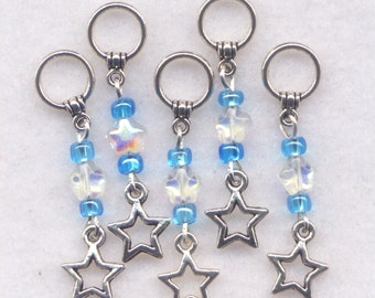 Blue Stars Stitch Markers No-snag AB Crystal Stars Set of 5/SM63A