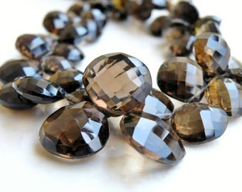 Smoky Quartz Gemstone Briolette Checkerboard Faceted Heart 15mm 2 beads