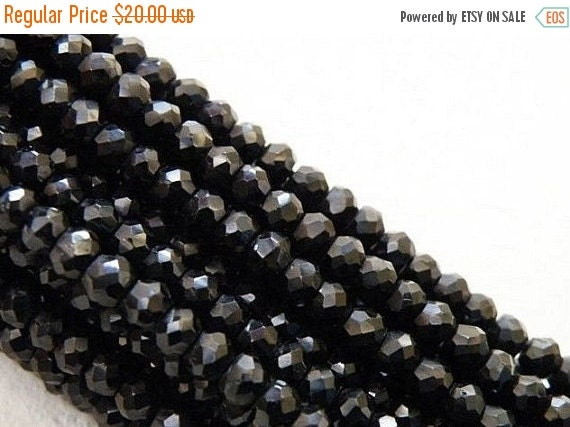 Clearance SALE Black Spinel Rondelle Gemstone Faceted Bead 3.5mm 125 beads Full strand