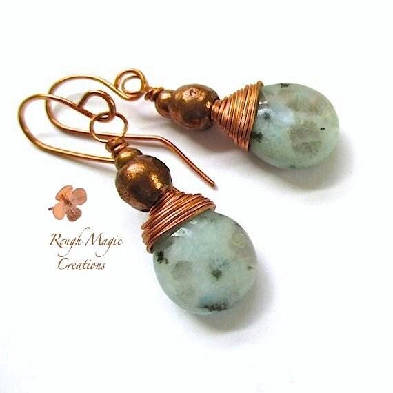 Aqua Gemstone Earrings, Blue Green Teardrops, Copper Wire Wrapped Sesame Kiwi Jasper Stones, Large Dangle Drops, Gift for Women  E133