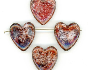 Vintage Heart Pendant Beads 22mm x 24mm Red Brown Picasso Finish Glass 4 Pcs.