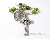 Our Lady of Kock Rosary Chaplet Green Connemara Marble Celtic Knot Single Decade St Brigid St Patrick St Dymphna Wire Wrapped Unbreakable