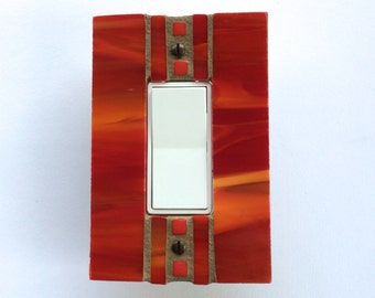 Red and Orange Stained Glass, Light Switch Cover, Decorative Switchplate, Glass Wall Plate, Rectangle Dimmer, Outet Cover, Glass Art, 8262