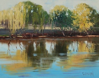 ORIGINAL OIL PAINTING River Willows Landscape fine art by G.Gercken