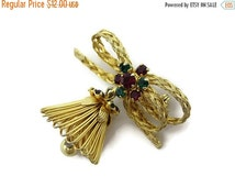 Cyber Monday SALE Vintage Christmas Brooch - Woven Wire, Red and Green Rhinestones, Bell, Costume Jewelry