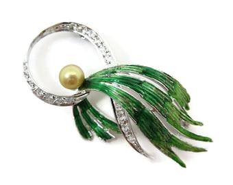 Pearl Brooch - Sterling Silver, Green Enamel, Jewelry, 1940s, Trombone Clasp