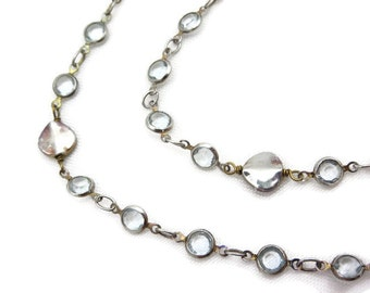 Gem Necklace - Vintage Bezel Set Clear Stones