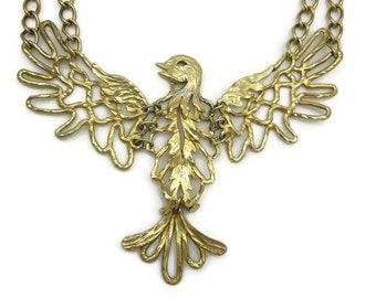 Cadoro Bird Necklace - Runway, Couture, Large Statement Piece, Bib Necklace