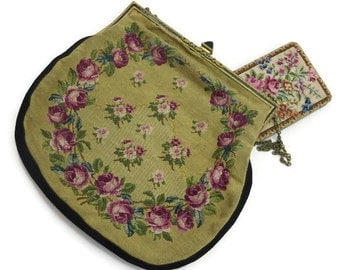 Antique Petit Point Purse - Enamel, Marcasites, Tapestry, Roses, Matching Powder Compact