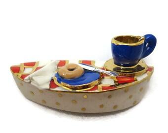 Porcelain Tea Party Brooch - Miniature Diorama Scene Jewelry