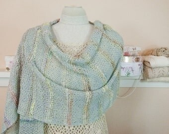 Romantic Handknit Shawl - Long, Rustic-Style Shawl of Luxury Fibers in Pale Cornflower Blue with Pastel Accents - Item 1573