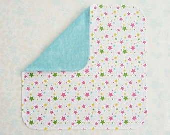 NICU Baby Gift - cotton fabric blanket - NICU approved design - multicoloured stars, backed with coordinating premium cotton flannel in teal
