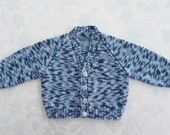 PREEMIE / SMALL NEWBORN Baby Boy - sweater / cardigan - 5 to 11 lbs (up to around age 2 months) - cotton mix yarn in shades of blue