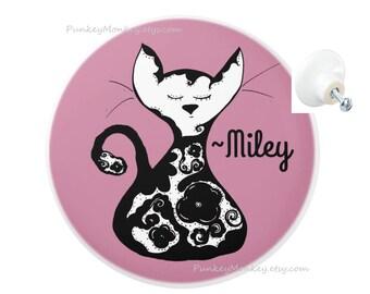 Girls floral kitty cat drawer pulls custom ceramic knob pull  kids teens room decor cats black and white flowers rustic chic custom cat