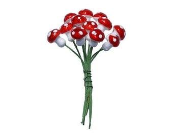 Mushrooms Germany 12 Metallic Bright Red Spun Cotton Mushrooms 10mm