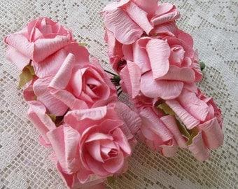 Paper flowers 24 millinery flowers pale pink mix garden roses paper flowers 24 millinery crinkle roses in pink nstr 4 bundles mightylinksfo