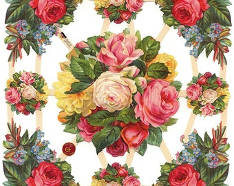 German Paper Scraps Lithographed Victorian Die Cut Roses  7409