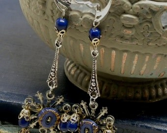 Something BLUE Silver Gold Earrings Vintage Glass Button Bead Miriam Haskell 24 K RGP Brass Filigree Sterling Silver Lever Backs Boho Bride