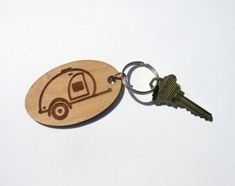 Teardrop Trailer Key Fob, Teardrop Camper, Camper Key Fob, Camping Key Ring, Teardrop Key Ring, Vintage Camper Keychain, Caravan Keychain,