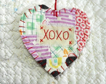 Wordz From the Heart Snippet Ornament - XOXO - Stitched From Recycled Vintage Quilt Piece