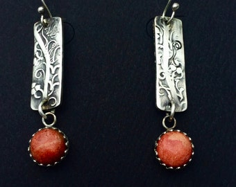 Sponge Coral Embossed Sterling Silver Dangle Earrings Gemstone Red coral Rolling Mill texture