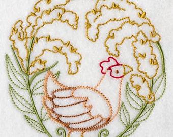 Hen in a Hayfield Chicken Embroidered Towel Vintage Look Flour Sack Kitchen Tea Towel