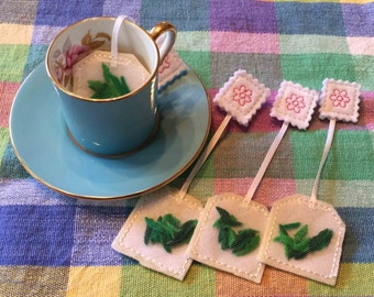 Felt Play Food Green Tea Bags Tea Party Set of 4