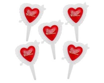 Be My Valentine Picks - 12 Valentine's Day cupcake picks