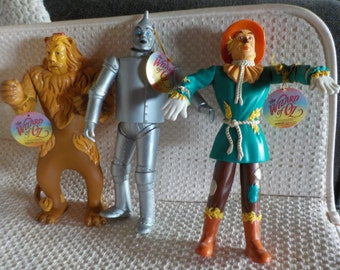 Wizard Of Oz Figurines Tin Man Scarecrow Cowardly Lion Figurines Set of 3 Turner Entertainment Co. 1995 Vintage Figurines New Old Stock