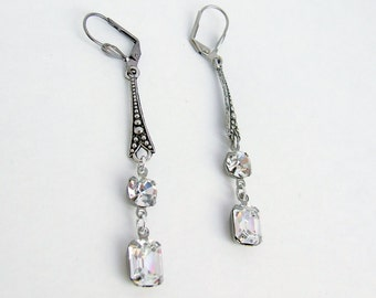 Art Deco Earrings, Swarovski crystal earrings, bridal set, wedding jewelry